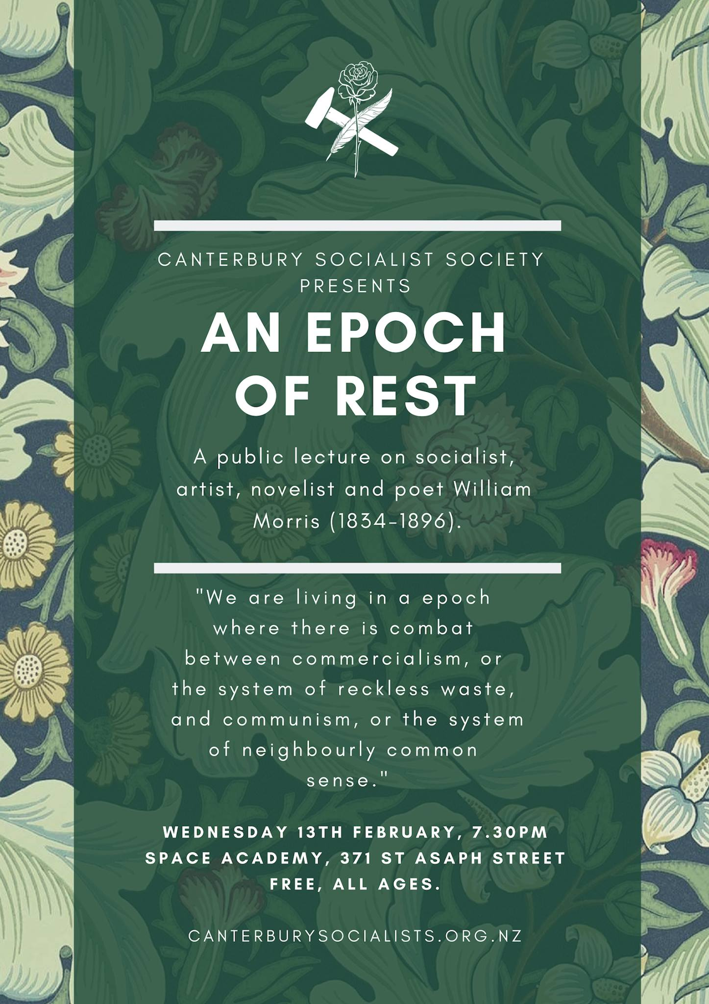 """CSS Public Lecture: """"An Epoch of Rest"""" William Morris (1834-96)"""