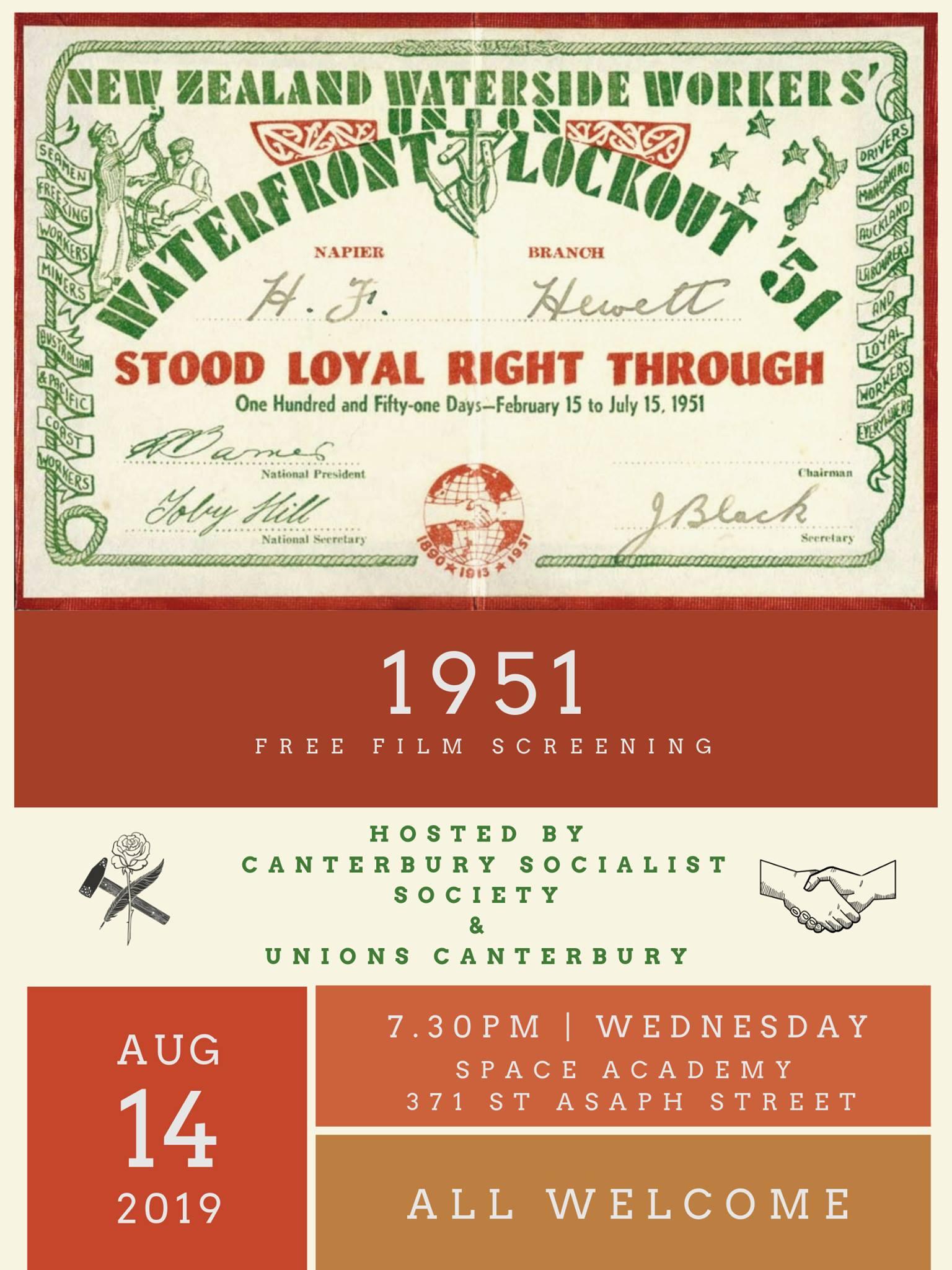 CSS & Unions Canterbury Film Screening: 1951